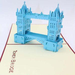 2017 yeni Tebrik Kartları) 10 adet / grup Düğün Davetiyeleri 3D Kart Kübik Thames Köprüsü Tebrik Kartları ücretsiz kargo