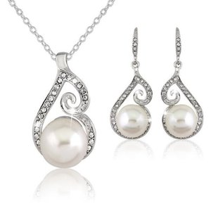 Jóias DHL prata Crystal Pearl colares Brincos Set nupcial Set Colar Pingente de casamento do diamante jóia partido do presente de Natal Brinco