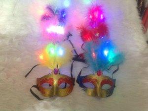Máscara de los niños fiesta de la mascarada de Navidad de Halloween luz máscara de plumas por mayor