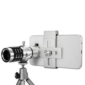 عالمي 12X زووم كاميرا الهاتف المحمول عدسة تلسكوب تليفوتوغرافي مع كليب حامل ترايبود عدسة لفون ل سامسونج الهواتف الذكية Universal 12X