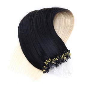 Wholesale -300S lot Micro Loop Ring Hair Extensions 1g s 300g 100% Ombre 1B 30 Brazilian Remy Human Hair Straight Piece Fast Delivery