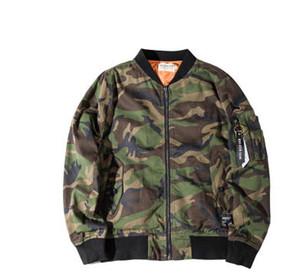 Erkekler için Bahar Sonbahar Giyim Kamuflaj Ceketler Bombacı MA1 Pilot ceket mont giysileri