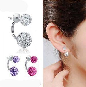 Nuevos pendientes de doble cara, pendientes de cristal de bola de discoteca de moda para mujer, la parte inferior es de acero inoxidable, regalos de navidad HJIA1146