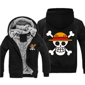 Wholesale-One Piece Sweatshirt Japan Anime Coat Luffy Print Thicken Zipper One Piece Anime Jacket Casual Mens Sweatshirt Hoodies