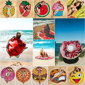 Verão Emoji Toalha Frutas Praia OOA2266 18 estilos Pizza Hamburger Donut Crânio Ice Cream morango Poliéster Redonda Praia toalha de banho