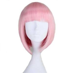 패션 여성 Capless 짧은 스트레이트 밥 빛 핑크 합성 가발 전체 플레이 8 색상