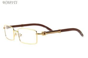 nuovo arrivo occhiali da sole in legno per uomo 2017 moda corno bufalo occhiali montatura in metallo oro lenti chiare occhiali da sole bufalo venire con scatola