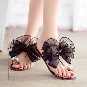 Wholesale-2015 summer ladies Bowtie flower sandals sexy casual fashion female beach flip flops women big rhinestone slippers shoes K234
