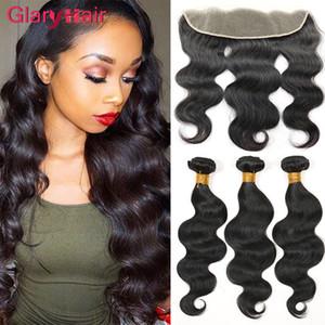 Dhgate top top vendendo feixes de cabelo virgem brasileiro com fechamento 13x4 lace pacotes frontais peruano onda do corpo tece cabelo para mulheres negras