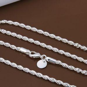 Prix de gros 16-24 pouce 3 mm chaînes torsadées colliers 925 sterling sivler bijoux colliers en argent fin pour pendentifs G205