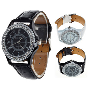 Branded women watches top brand luxury Leather Geneva Crystal Dial Lady Wrist Watch Bracelet Quartz Hour dames