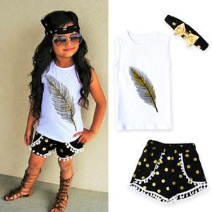 2017 Kid girls одежда повседневная одежда устанавливает детский костюм малыш дети перо жилет + шорты + оголовье наряды одежда