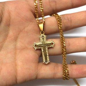 Hommes Classique En Acier Inoxydable Hommes Chaînes 18K Réel Plaqué Or Vintage Latin Christian Croix Pendentifs Colliers