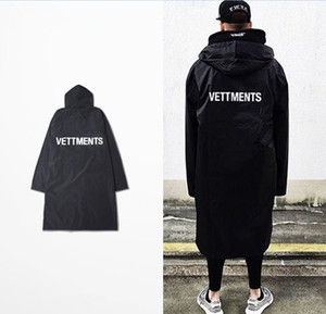 Wholesale- 2016 Men's Vetements Rain Coat Kanye West Bomber Jacket Streetwear Long Hoodies Men Hip Hop Windbreaker Oversized  Clothes