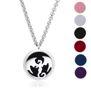 Aromatherapy Essential Oil Diffuser Necklace Jewelry -30mm Hypoallergenic 316L Surgical Grade Stainless Steel(Send Chain and 6 Felt Pad) Z67