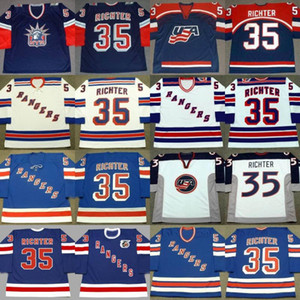 Hombres Custom Retro 35 Mike Richter Jersey EE. UU. 1998 2002 New York Rangers 1990's 1991 1994 1998 2003 Jersey
