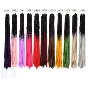 capelli lisci due tonalità ombre grigie, trecce dreadlocks trecce capelli sintetici estensione 20 fili / pezzi finte locs crochet sintetico intrecciare i capelli