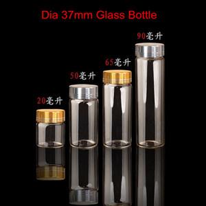 24x Diametro serie 37mm Bottiglie in vetro trasparente Tappo in alluminio con filettatura in argento dorato Borosilicato