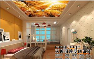 carta da parati personalizzata per pareti 3d soffitti affrescati wallpaper Autumn Trees Landscape Zenith foto murale sfondi per soggiorno soffitto