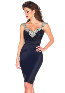 Sheath Knee Length Women Cocktail Party Dresses 2017 Crystal Beads Straps Short Evening Gown Custom Made