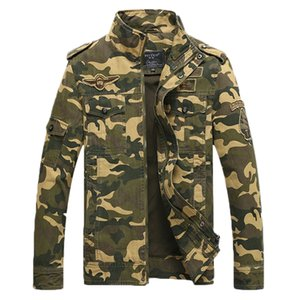 Atacado-Camuflagem Mens Jackets New Arrival 2017 algodão para o outono inverno casaco gola Casual impressão Mens Jacket 110wy