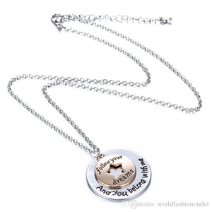 Lovers letter Love Necklace Round Star Pendant Silver Gold Jewelry Gift follow your dreams And You Belong With Me Pendant Necklaces Free DHL