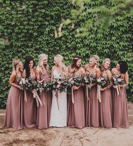 Dusty Rose Pink невесты платья Милая Ruched шифон-линии Длинные горничной честь платья венчания партии платье плюс размер пляжа