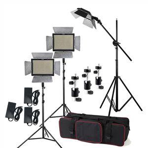 Kit de iluminación de estudio 3pcs Yongnuo YN600L II 3200-5500K Bicolor 600 LED Panel de luz de video + Adaptador de corriente + 2m Soporte + Brazo + Bolsa de transporte