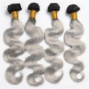 Gümüş Gri Ombre Hint Vücut Dalga Saç Uzantıları # 1B Gri Iki Ton Ombre Saç Demetleri 4 Adet lot Vücut Dalga Saç Örgü