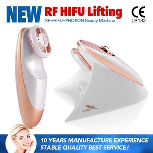 Taşınabilir ev kullanımı mini yüz germe hifu makinesi 3 1 çok işlevli kırışıklık giderme için rf led hifu ile
