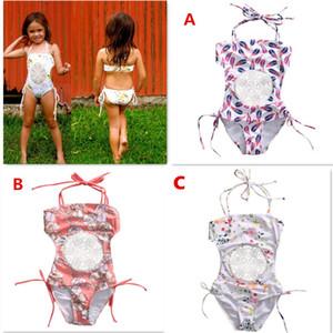Yaz Tek parça Çocuk Kız Bebek Mayo Çiçekler Desen Mayo Yıkanma Çiçek Prenses Elbise Giyim 3 Renk Yaş 0-5T