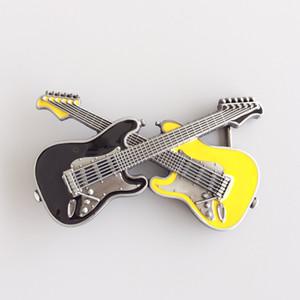 New Vintage Schwarz Gelb Emaille Cross Gitarren Musik Gürtelschnalle Gürtelschnalle Boucle de ceinture BUCKLE-MU094BKYE Nagelneu Kostenloser Versand