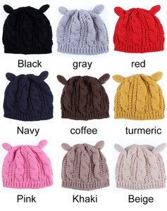 2017 haute qualité nouveaux bérets de laine d'automne et d'hiver, bonnet de laine brûlée chapeau oreilles de chat, bonnet chaud