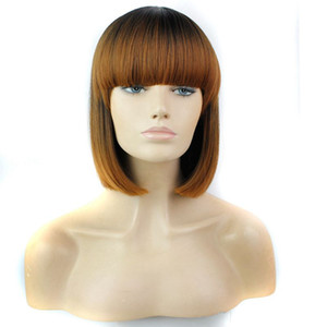 Ombre Synthetic Hair Wigs With Full Bang 12inch Heat Resistant Black Synthetic Short Bob Wig Popular Style