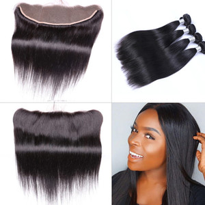 Brezilyalı düz insan bakire saç örgüleri 13x4 dantel frontal kulak kulağa tam kafa doğal renk ile işlenmemiş insan saçı boyalı olabilir