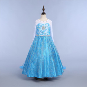 Ragazze Snow Queen Princess Dress-up Costume Cosplay Make-up Party Princess Rapunzel Lace Dress 10 Style DHL Ship PX-D05