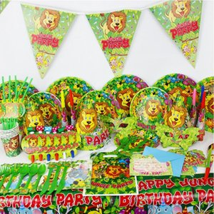 2017 New Animal Lion Theme Tableware Party Decoration For Children Boys Girls Event Birthday Party Supplies Wedding Favors