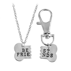 2 pz / set BEST FRIENDS Dog Bone BFF Collane Del Pendente Portachiavi Portachiavi Portachiavi Oro Argento Tag Regalo per gli amici all'ingrosso