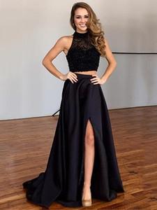 Eleganti abiti da sera a-line collo alto nero in raso Tulle Sweep treno Split Front Two Piece Prom Dress 2018