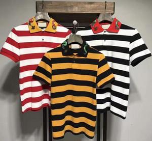 2017 여름 브랜드 뉴 남성 폴로 셔츠 뱀 줄무늬 자수 꿀벌 남자 반팔 셔츠 브랜드 셔츠 남성 셔츠 폴로 셔츠 3color