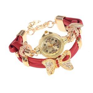 Mode Schmetterling Retro Armband Diamant Stein Kristall Frauen Hochzeit Quarz Strass Armbanduhren 2017 Marke Luxus 6 Farben Weiblich