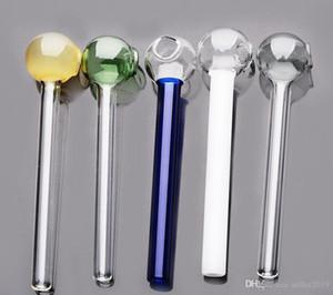 vidrio colorido pipa de fumar de la manija tubos plegados mini pipas de mano de color soplado mezcla Recycler Mejor Quemador de Aceite