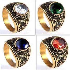 7-13 позолоченное армейское кольцо с драгоценными камнями из нержавеющей стали 316L мужские кольца для оружия