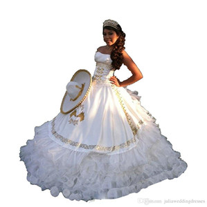 2020 White Gold Satin Ball Gown Quinceanera Dresses With Embroidery Beads Sweet 16 Dresses For 15 Year Prom Gowns QS1006
