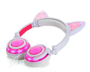 헤드폰 LED 뮤직 라이트 이어폰 Foldable 고양이 귀 iphone MP4를위한 충전식 헤드셋 소매 패키지 DHL 무료