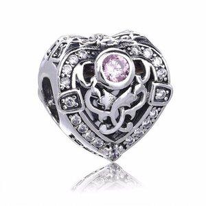 Yeni Pembe Kristal Kalp Charms Boncuk Otantik 925-Sterling-Silver-Takı Orkide Çiçek Boncuk DIY Bilezikler Için Yapma Aksesuarları