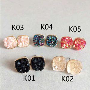 New glitter Druzy Drusy square Earrings small cute shinny Drusy Geometry Stone Ear Stud Jewelry for women