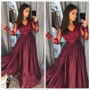 Бургундия Элегантный V-образным вырезом с длинными рукавами платья выпускного вечера 2018 Кружева Аппликации Вечернее платье A Line Специальное платье для особых случаев