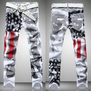 Art und Weise der heißen Männer Designer-Jeans Männer Denim mit amerikanischen Flügel Flagge plus size