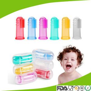 Gel di silice Baby molare stick Spazzolino da denti per bambini guanti per teether bianco blu 2 colori